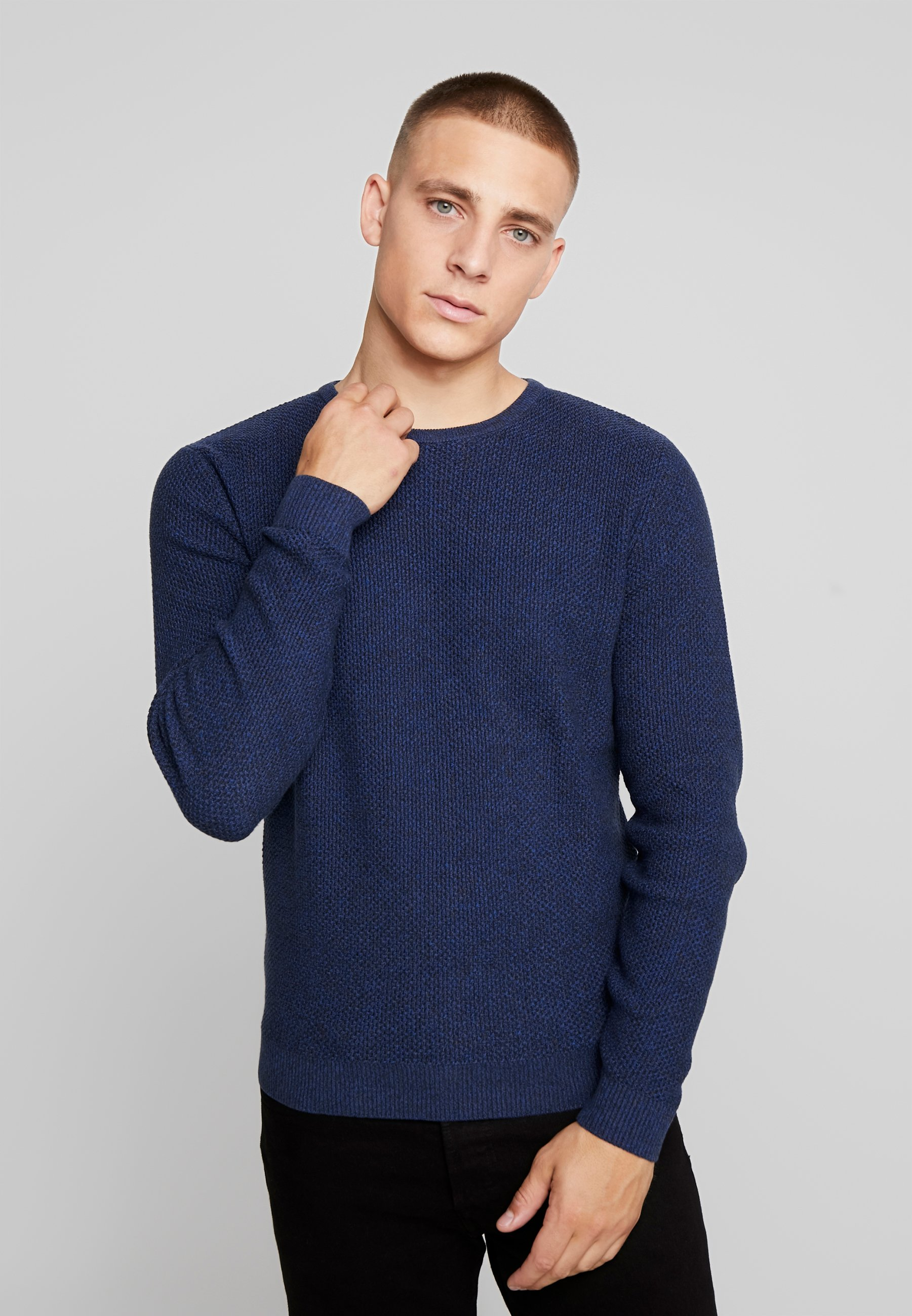 Homme MODERN BASIC STRUCTURE - Pullover - navy blue/ dark grey mouline