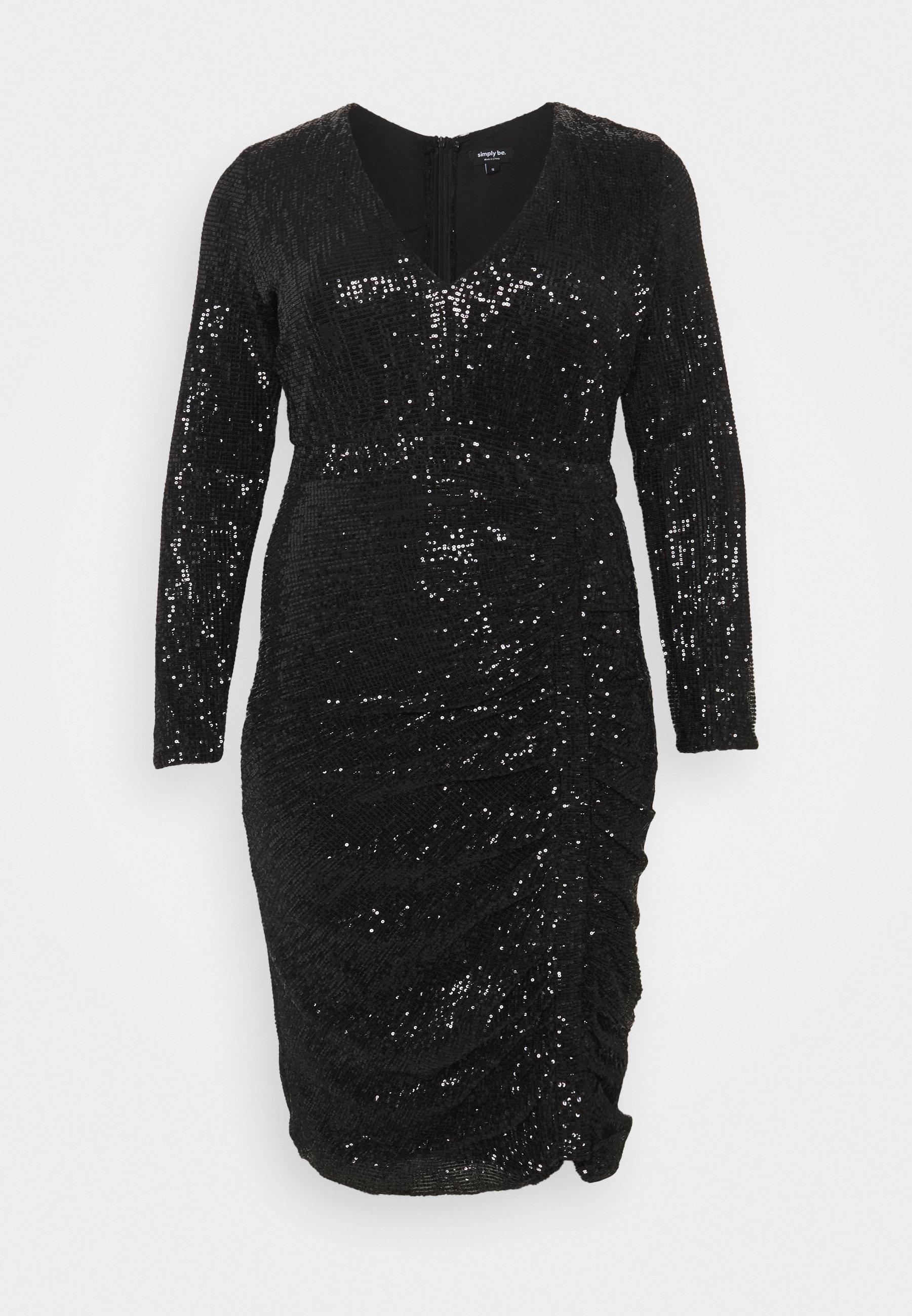 stretch sequin bodycon dress - cocktailkleid/festliches kleid - black