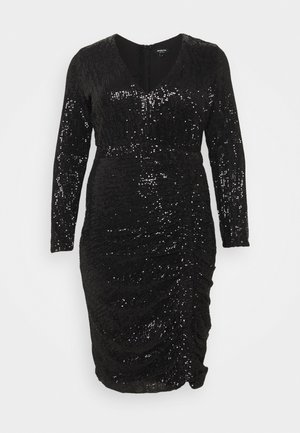 STRETCH SEQUIN BODYCON DRESS - Vestito elegante - black