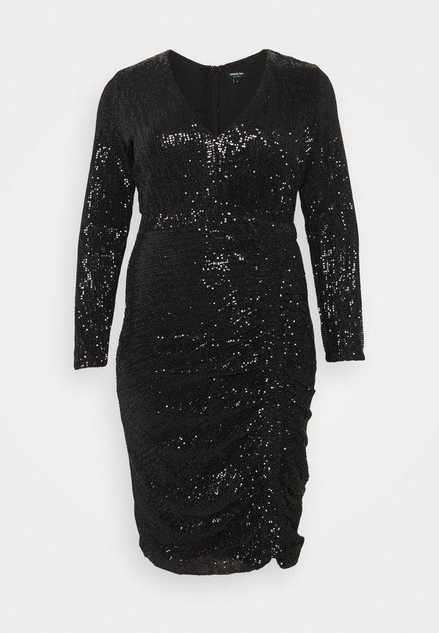 STRETCH SEQUIN BODYCON DRESS - Vestito elegante - black