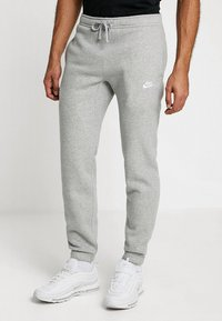 Nike Sportswear - CLUB CUFFED PANT - Tracksuit bottoms - dark grey heather/white - 0