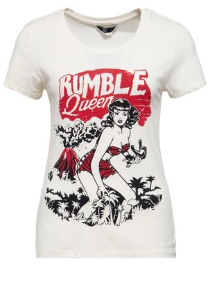IM VINTAGE LOOK RUMBLE QUEEN - Print T-shirt - offwhite