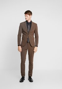 Lindbergh - PLAIN MENS SUIT - Suit - brown melange - 0