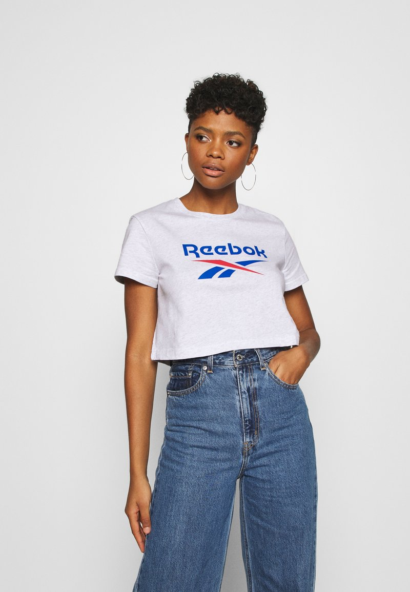Reebok Classic - BIG LOGO TEE - Print T-shirt - white / melange