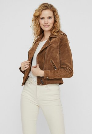 Veste en cuir - tobacco brown