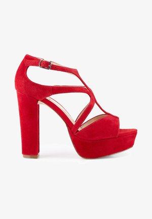 High heeled sandals - rot