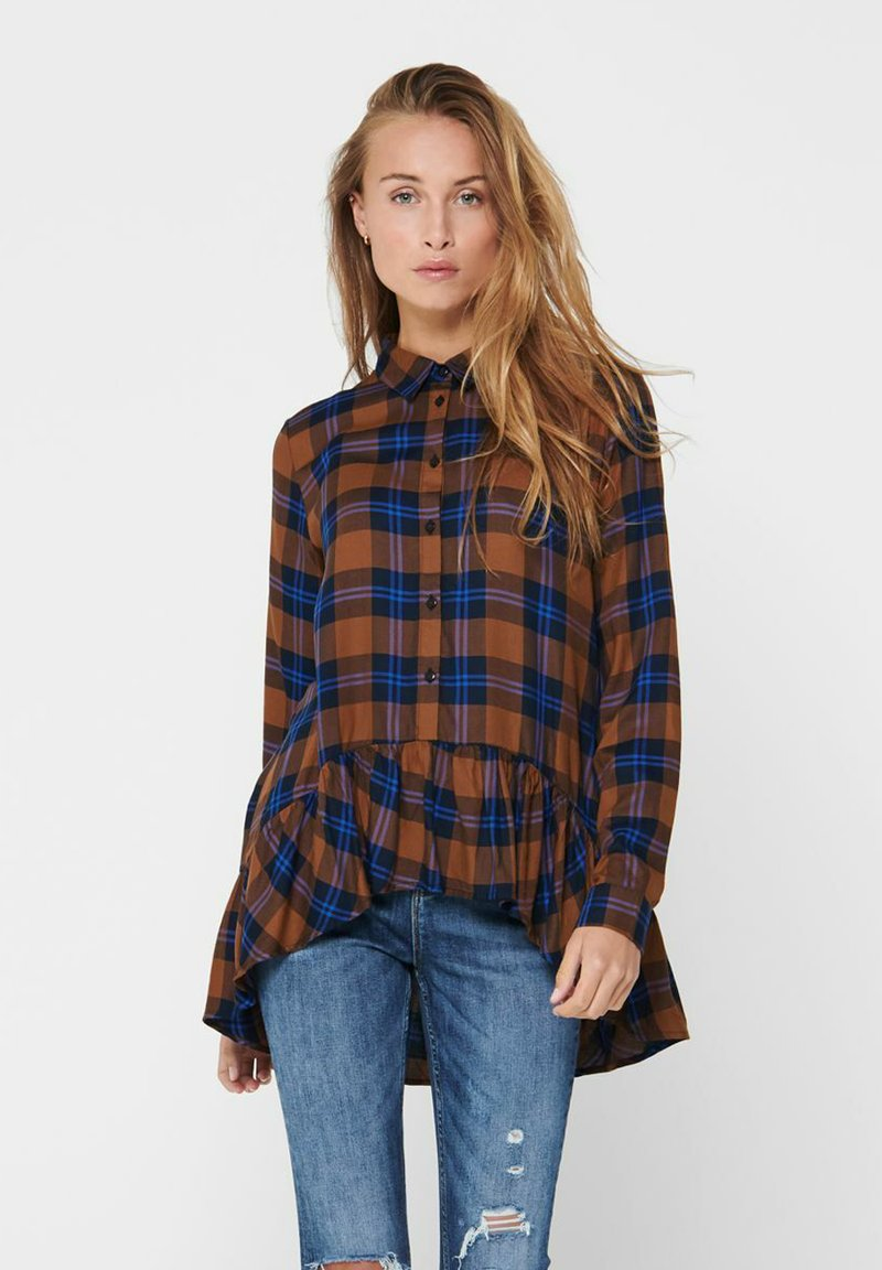 JDY - JDYSTAY HIGH LOW SOLID - Button-down blouse - leather brown