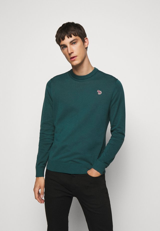 MENS CREW NECK ZEBRA - Neule - dark green