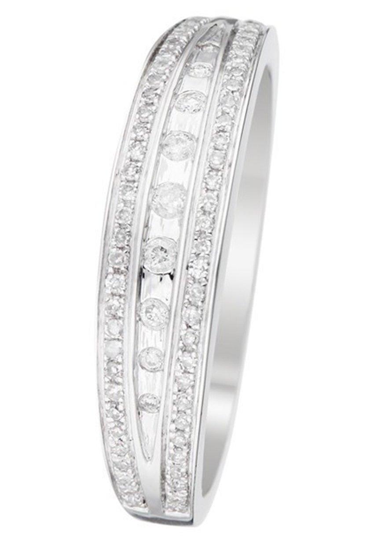 Mujer WHITE GOLD RING 9K CERTIFIED 75 DIAMONDS HP1 0.17 CT - Anillo