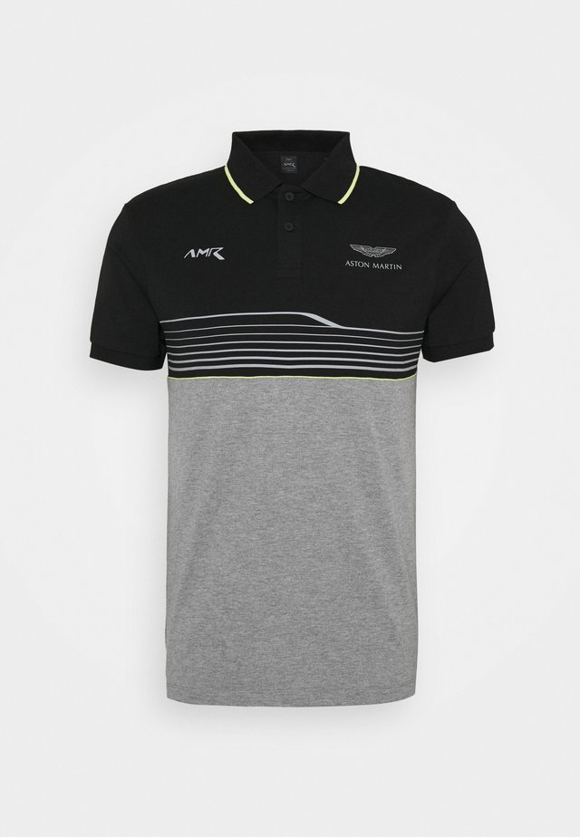 AMR STRIPE POLO - Piké - black/grey