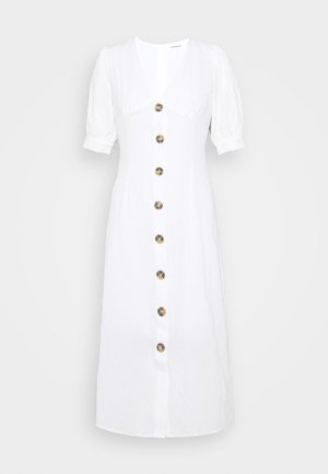PUFF SLEEVE MIDI DRESS WITH FRONT BUTTON DETAIL - Day dress - cream