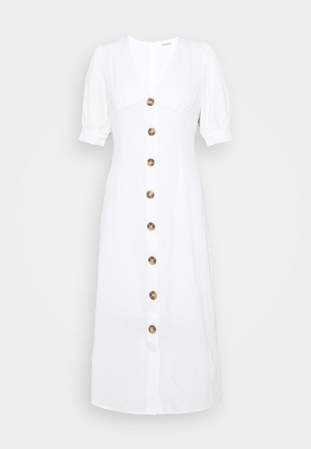 PUFF SLEEVE MIDI DRESS WITH FRONT BUTTON DETAIL - Korte jurk - cream