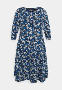 Dorothy Perkins Curve - CURVE LONG SLEEVE DITSY PRINT FIT AND FLARE  - Day dress - navy - 4