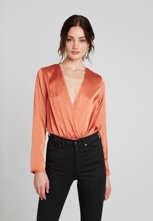 WRAP FRONT PLUNGE BODYSUIT - Bluse - rust