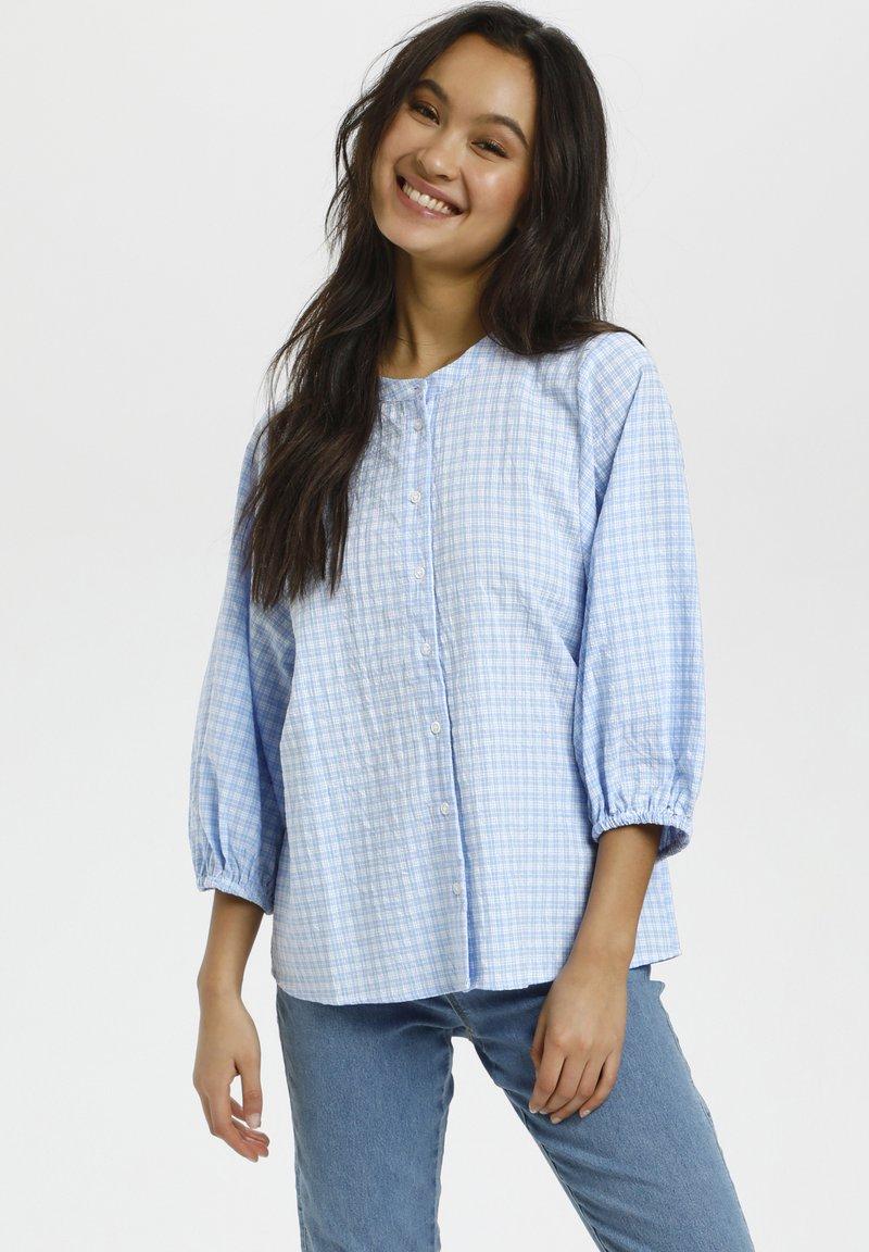 Kaffe - Button-down blouse - light blue check