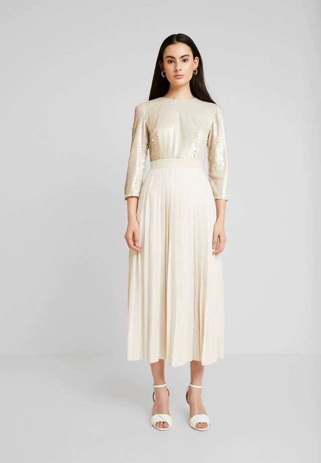 SEQUIN PLEATED HEM - Vestido de cóctel - cream