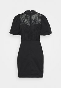 Glamorous - INSERT MINI DRESS WITH PUFF SHORT SLEEVES AND HIGH NECK - Cocktail dress / Party dress - black - 1