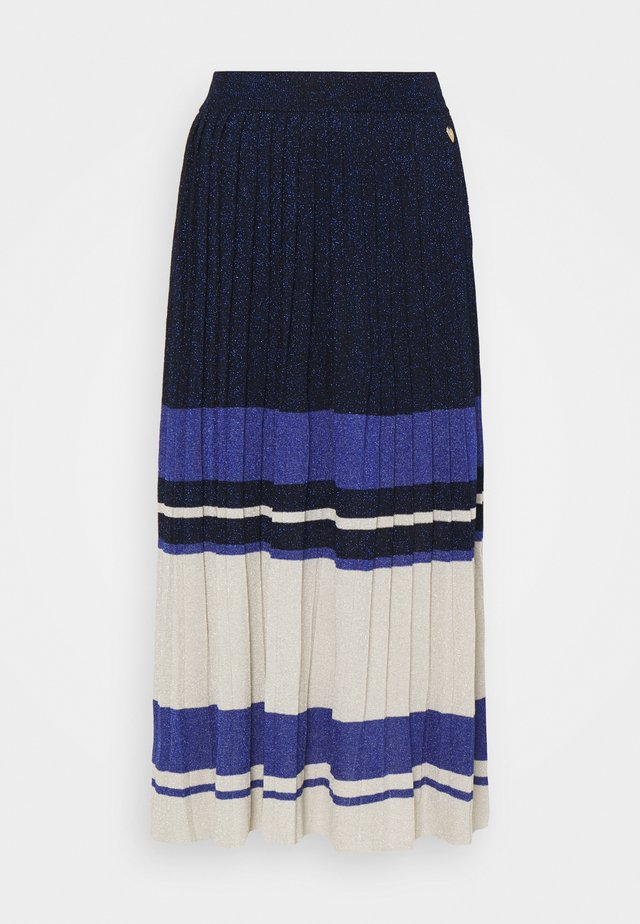 GONNA LUNGA IN MAGLIA PLISSE BLOCK COLOR - Pleated skirt - blue\indaco