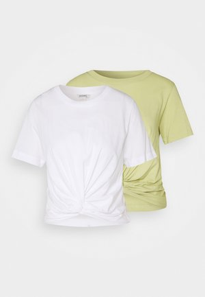 WILMA 2 PACK - Basic T-shirt - green/white
