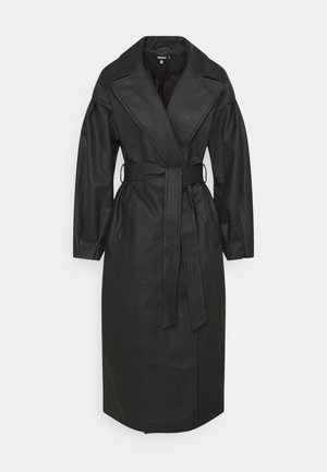 BELTED BALLOON SLEEVE - Trenchcoat - black