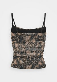 Missguided - RUCHED SIDE CAMI SNAKE PRINT - Topper - brown - 1