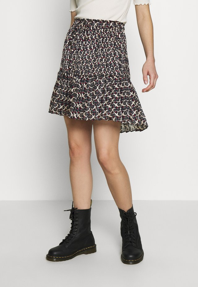 ALLOVER PRINTED SHORT SKIRT WITH PLEATS - Falda acampanada - black/off-white