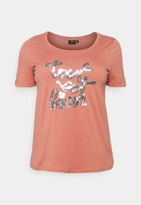 Zizzi - BOXY TEE WITH FOLD UP - T-shirts med print - canyon rose - 3
