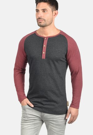 WINSTON - Long sleeved top - charcoal/wine
