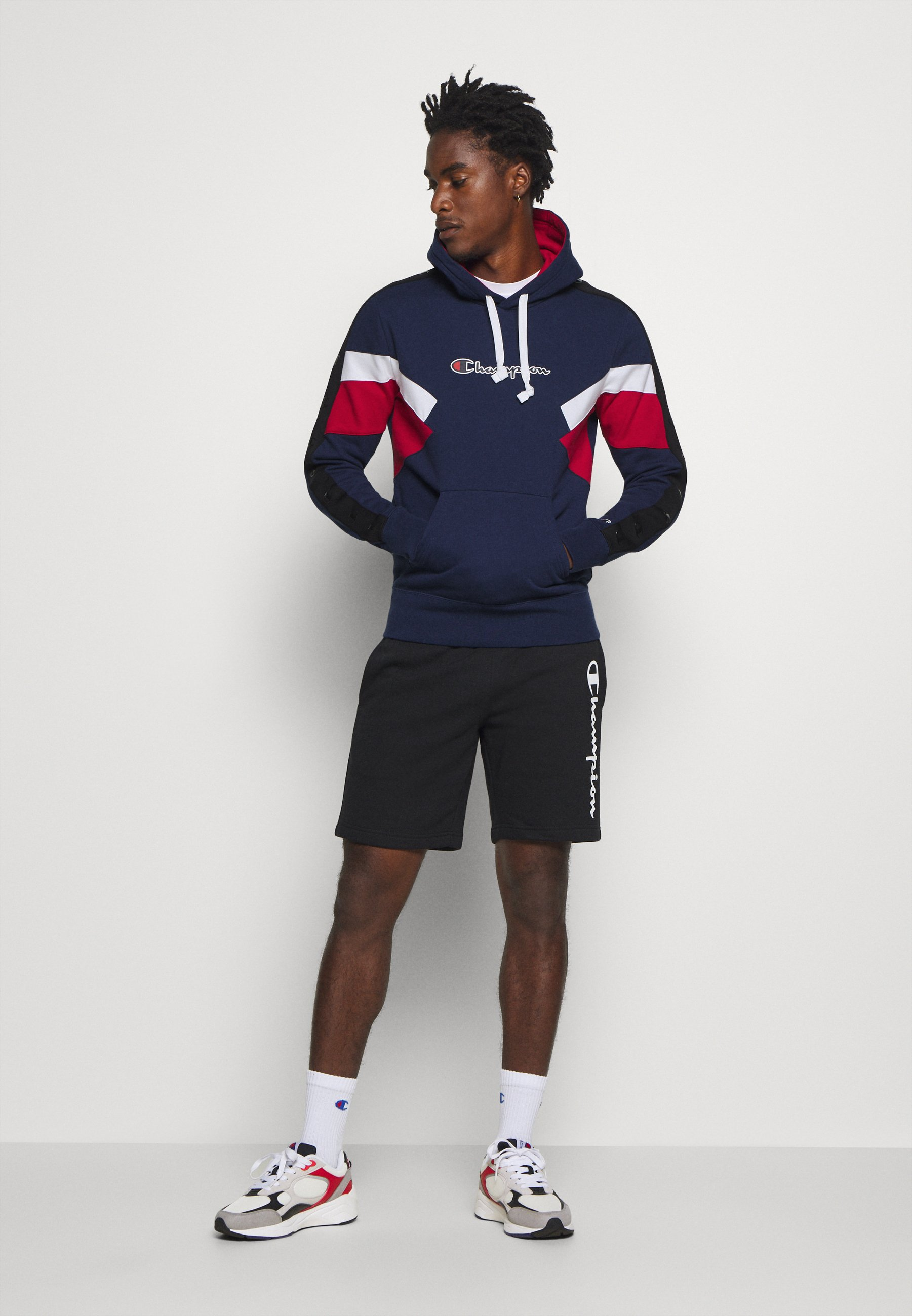 Champion Rochester - Bluza Z Kapturem Dark Blue/dark Red