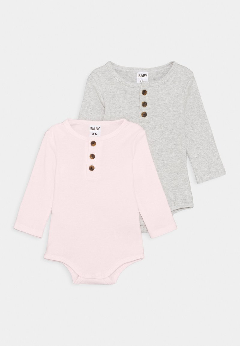 Cotton On - LONG SLEEVE PLACKET BUBBYSUIT 2 PACK UNISEX - Body - cloud marle/crystal pink