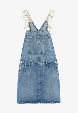 ICONICS DUNGAREE DRESS - Denim skirt - mid blue