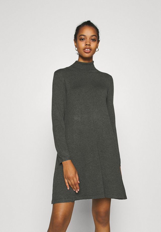 VMGLORY LS ROLLNECK DRESS COLOR - Jumper dress - dark grey melange