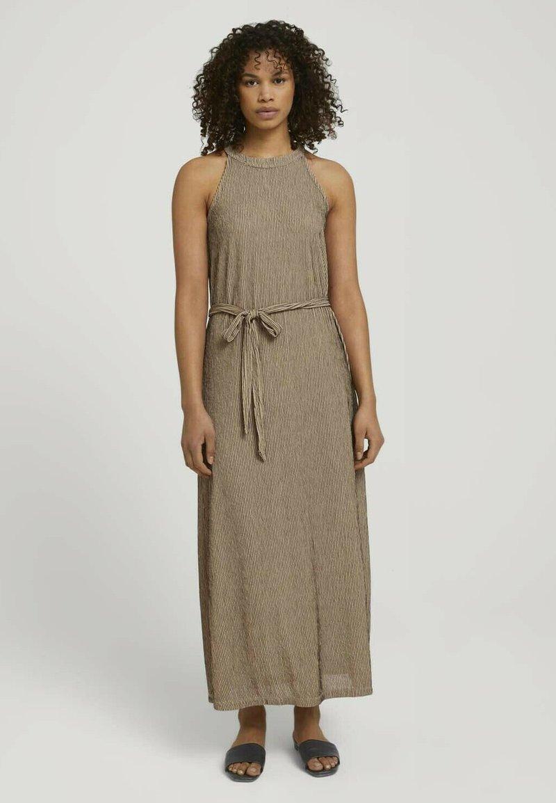 TOM TAILOR DENIM - Maxi dress - beige black structured stripe