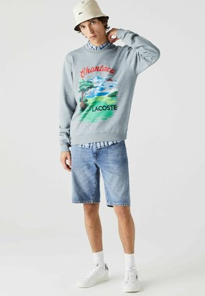 Sweatshirt - heidekraut grau / rot