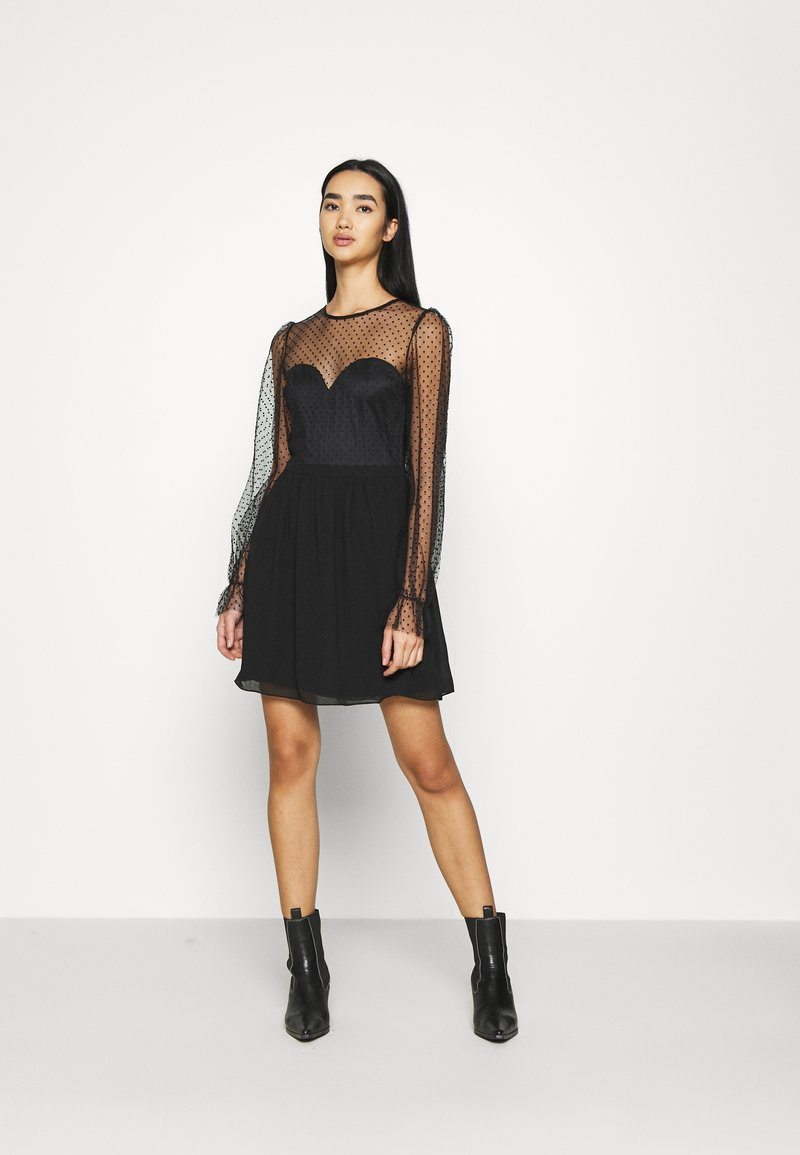 Nly by Nelly - RITZY DOT SKATER DRESS - Cocktail dress / Party dress - black