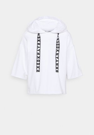 LOGO LACE DRAWCORD CROPPED SHORT SLEEVE HOODIE - Sweatshirts - white