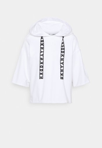 LOGO LACE DRAWCORD CROPPED SHORT SLEEVE HOODIE