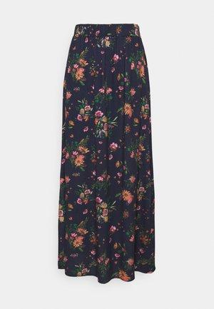 VIBILLY LONG FLOWER SKIRT - Maxi skirt - navy blazer/red