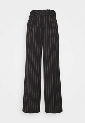 BELTED SLIM WIDE STRIPE - Trousers - shadow