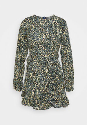 RUCHED SIDE BUTTON TEA DRESS FLORAL - Kjole - black