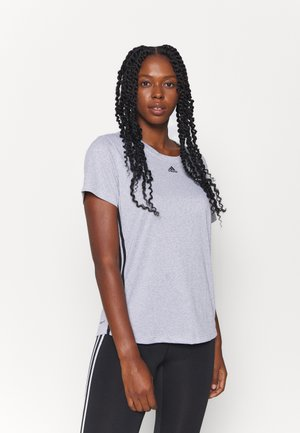 3 STRIPE TEE - Sports shirt - white/black