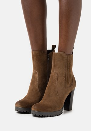 LEATHER - High heeled ankle boots - cognac