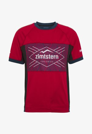 TECHZONEZ MEN - T-Shirt print - jester red/french navy/glacier grey