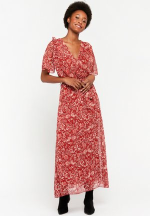 WITH FLOWER PRINT - Maxi-jurk - red