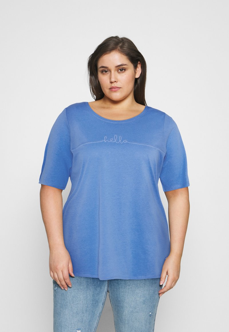 MY TRUE ME TOM TAILOR - WITH SLEEVE DETAIL - Print T-shirt - marina bay blue