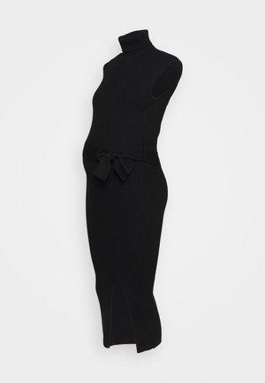 HIGH NECK B - Pletené šaty - black