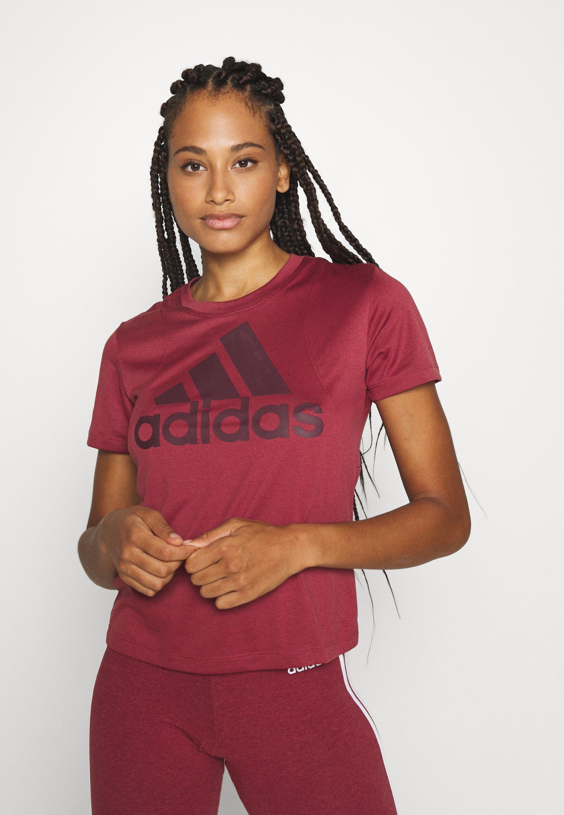 adidas Performance LOGO TEE - Print T-shirt - legred/maroon bJy0b