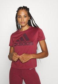 adidas Performance - LOGO TEE - Print T-shirt - legred/maroon - 2