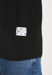 G-Star - 3D BIKER ZIP THRU KNIT L\S - Kofta - cotton tone fusion knit o - dk black - 5