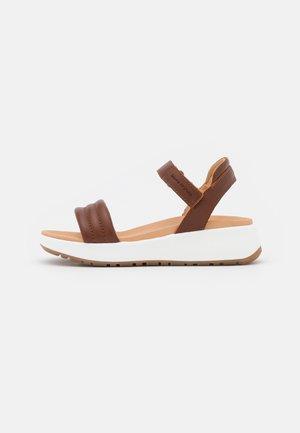 SPORTY - Platform sandals - cognac